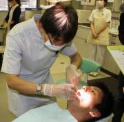 歯科検診を受ける広島福井(撮影・酒井俊作)