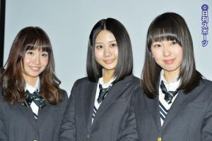 イベントに出席した、左から柴田阿弥、古畑奈和、熊崎晴香(撮影・森本隆)