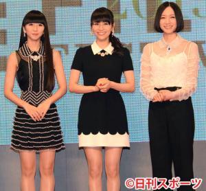 Perfume(パフューム)。左から樫野有香、西脇綾香、大本彩乃